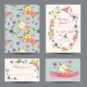 Invitation-Congratulation Card Set - for Wedding, Baby Shower — Stockvector