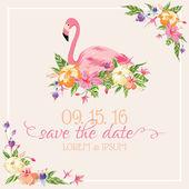 Invitation-Congratulation Card - Flamingo Theme - in vector — Vettoriale Stock