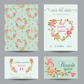 Invitation-Congratulation Card Set - for Wedding, Baby Shower — Stockvektor