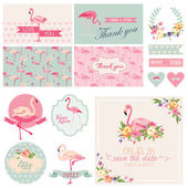 Flamingo Party Set - for Wedding, Bridal Shower, Party Decoration — Stock Vector