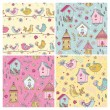 Set of Seamless Patterns - Cute Birds Backgrounds - in vector — Stock Vector #67512977