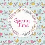 Cute Birds Card - Spring Time - in vector — Stock Vector #67513153