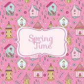 Cute Bird Houses Card - Spring Time - in vector — Stock Vector