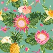 Tropical Flowers Background - Vintage Seamless Pattern - in vect — Stock Vector #68179717