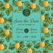 Save the Date - Wedding Invitation Card - with Retro Pineapples  — 图库矢量图片