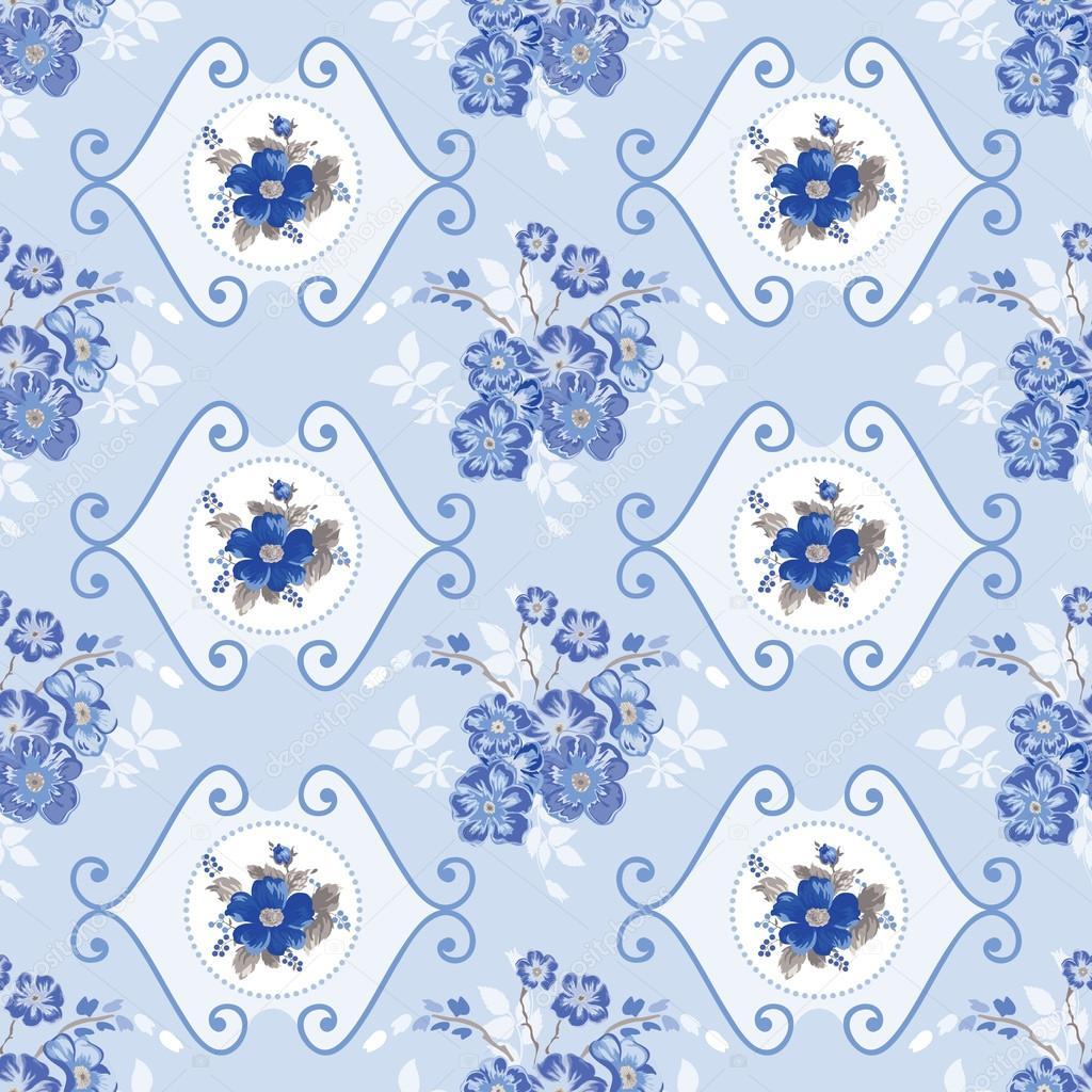 vintage floral background blue flowers in vector