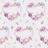 Spring Hearts Flowers Backgrounds - Seamless Floral Shabby Chic Pattern — Stock Vector
