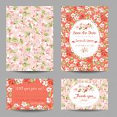Invitation or Congratulation Card Set - for Wedding, Baby Shower — Stok Vektör