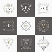 Vector Set: Vintage Frames and Banners, Calligraphic Design Elements — Stock Vector