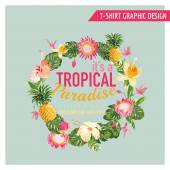 Tropical Flowers Graphic Design - for t-shirt, fashion, prints — Stock Vector