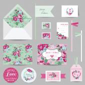 Set of Wedding Stationary - Invitation Card, Save the Date, RSVP — Stock Vector