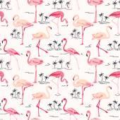 Flamingo Bird Background - Retro seamless pattern in vector — Stock Vector