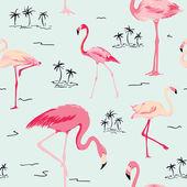 Flamingo Bird Background - Retro seamless pattern in vector — Vetor de Stock
