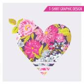 Floral Heart Graphic Design - for t-shirt, fashion, prints — Stock Vector
