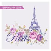 Floral Paris Graphic Design - for t-shirt, fashion, prints — Stock Vector