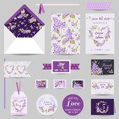 Set de papelería de boda - tarjeta de la invitación, salvo la fecha, Rsvp — Vector de stock