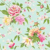 Vintage Peony Flowers Background - Seamless Floral Shabby Chic Pattern — Stockvector