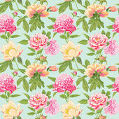 Vintage Peony Flowers Background - Seamless Floral Shabby Chic Pattern — Stock Vector