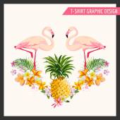 Tropical Flowers and Flamingo Graphic Design - for t-shirt, fashion — Stock Vector