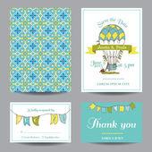 Wedding Invitation Card - Air Balloon Theme — Stock Vector