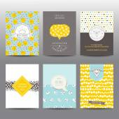 Set of Geometric Brochures and Cards - vintage layouts — Stock Vector