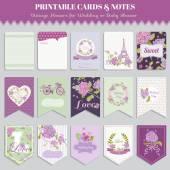 Vintage Set karta květiny - pro narozeniny, svatba, miminko — Stock vektor