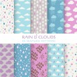 10 Seamless Patterns - Rain and Clouds - Texture for wallpaper — Stock Vector #82847968