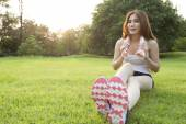 Woman Sitting after jogging. — Stock Photo