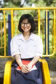 Portrait schoolgirl smiling a happy. — Stock Photo