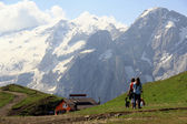 Hiking in front of Marmolada — Stock Photo
