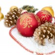 Christmas red ball, twig of fir , beads — Stock Photo #57249041