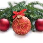 Christmas red ball, twig of fir — Stock Photo #58186889