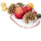 Christmas red ball, twig of fir , beads — Stock Photo