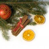Christmas red ball, twig of fir, orange, and  cinnamon — Stockfoto