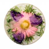 Frozen   flower of   pink chrysanthemum and   bellflower  — Foto de Stock