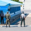 Korean soldiers watching border between South and North Korea in the Joint Security Area (DMZ) — Stock fotografie #64355619
