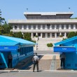 Korean soldiers watching border between South and North Korea in the Joint Security Area (DMZ) — Stock Photo #64355729