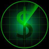 Radar screen with dollar symbol — Stock Vector