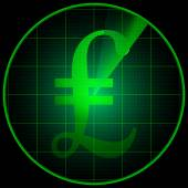 Radar screen with pond symbol — Stock Vector