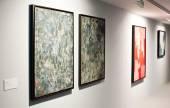Exibition of abstract painter Serg Polyakov — Stock Photo