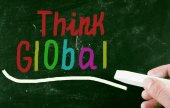 Think global concept — Stock Photo