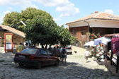 NESEBAR, BULGARIA - AUGUST 29: People visit Old Town on August 29, 2014 in Nesebar, Bulgaria. Nesebar in 1956 was declared as museum city, archaeological and architectural reservation by UNESCO. — Stock Photo