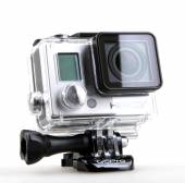 AYTOS, BULGARIA - OCTOBER 15, 2014: GoPro HERO3 Black Edition isolated on white background. GoPro is a brand of high-definition personal cameras, often used in extreme action video photography. — Stock Photo