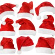 Set of Santa Claus red hats — Foto Stock