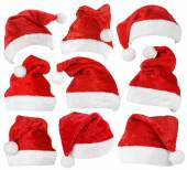 Set of Santa Claus red hats — Stock Photo