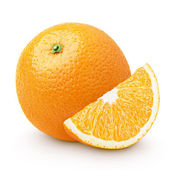 Orange citrus fruit with slice isolated on white — Stock Photo