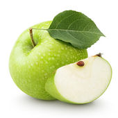 Green apple with leaf and slice isolated on a white — Stock Photo