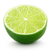 Half of lime citrus fruit isolated on white — Foto Stock