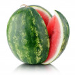 Ripe watermelon with cut slice isolated on white — Stock Photo #66139601