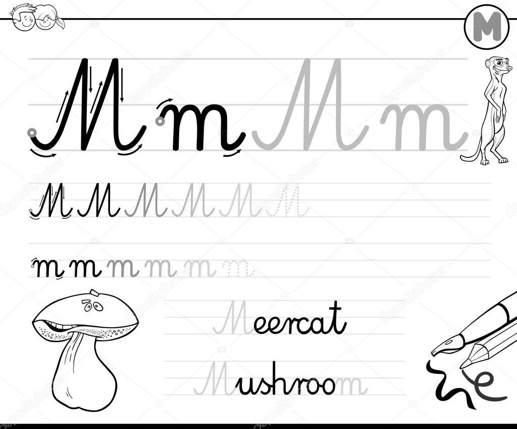 Worksheet Writing The Letter M learn to write letter m stock vector izakowski 115727528 black and white cartoon illustration of writing skills practice with worksheet for children coloring